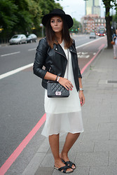Emma Hill - Forever 21 Biker Jacket, Asos Sheer Overlay Dress, Dune Slides, Chanel 'Boy' Bag - Leather & Sheer