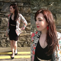 Hannah - Hook Crochet Leaf Earring, Zara Floral Blazer, Primark Black Dress, Primark Black Velvet Pumps, Oasis Skinny Nude Belt - Floral's and Crochet