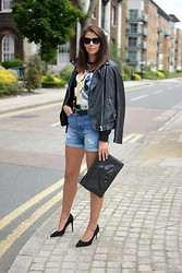 Emma Hill - Whistles Shorts, Forever 21 Jacket, Choies Bag, Romwe Bambi Sweatshirt - Denim Grunge