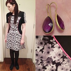 Hannah - Willow&Clo Purple Stone Earrings, Miss Selfridge Pattern Dress, Primark Black Opaque Tights, Primark Black Pumps - Blogger Meetup Outfit
