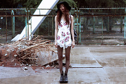 Vu Thien - Missguided Playsuit, Vagabond Boots, The Dead Bird Leather Choker - RAINY GLOOMY AFTERNOON