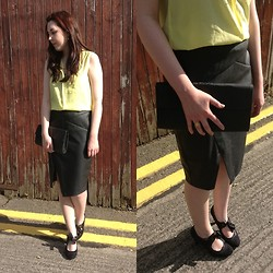 Hannah - Willow&Clo Lotus Earrings, H&M Yellow Blouse, Oasis Leather Skirt, Primark Black Clutch, Willow&Clo Lotus Ring, Primark Ribbon Tie Heels - Leather and Lotus