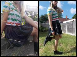 Angie M - Oasap Rainbow Dip Dye Tee, Hearts & Bows Wet Look Skirt, H&M Cowboy Ankle Boots - Rainbow Dip Dye