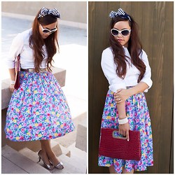 Lily S. - Vintage Pleated Midi Skirt, Ann Taylor White Button Down Shirt, New York And Co. Envelope Clutch, Apt. 9 Metallic Peep Toe Heels, Vintage Castillo Paris Scarf Headband, Steve Madden Cat Eye Sunglasses, Vintage Pearl Cuff, Vintage Silver Belt - Pretty Pleats