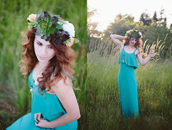 Delightfully Tacky . - Lulu's Dress, Morrow Studios Crown, Handmade Necklace - Succulent