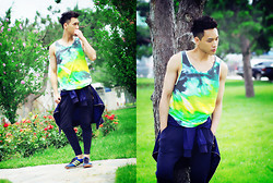 Chris Su - Pull & Bear Tank, Zara Pants, Adidas Shoes - Paint Green