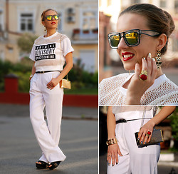 Iren P. - Geometric Tribal Print Triangle Earrings, Saint Laurent Red Stone Gold Ysl Ring, Golden Mirror Sunglasses, Sheinside Parental Advisory Printed Mesh Crop Top, Wide Legs White Pants, Black Mules, Gold Mirrored Nails - PARENTAL ADVISORY