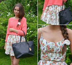 Josefin Rudälv - Sheinside Floral Dress, H&M Coral Sweater, H&M Tote Bag - FLOWER POWER