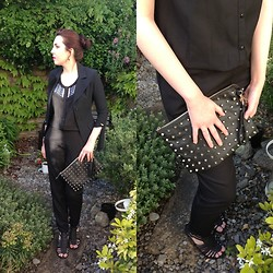 Hannah - Pinko Black Blazer, Zara Black Beaded Jumpsuit, Primark Studded Clutch Bag, New Look Gladiator Heels, Willow&Clo Bleeding Hearts Ring, Willow&Clo Black Raindrop Earrings - Jumpsuits and Studs