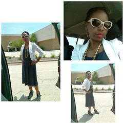 Frederica E. - Candies White Blazer, Ann Taylor Navy Midi Tank Dress, Nine West Ankle Booties - Navy & White Summer Time