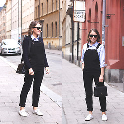 Trini Gonzalez - Ray Ban Sunglasses, Club Monaco Classic Shirt, Topshop Dungarees, Sandro Sweater, Anya Hindmarch Bag, Superga Sneakers - Spring 2014 (Stockholm)