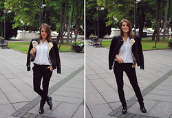 Ūla U. - Zara Fake Leather Jacket, Cubus White Simple Shirt, Quite Formal Pants, Clarks Shiny, Favourite Nail Polish - The meeting