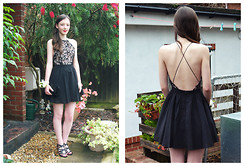 Nina JC - Missguided Desaree Black Cross Back Lace Detail Puffball Mini Dress, French Connection Uk Fcuk Black Clutch, New Look Black Strappy Cut Out Low Heel Open Toe Sandals - Prom Night