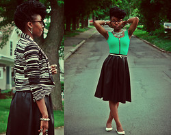 Stephanie Ukpere - New York & Company Blazer, H&M Dress, Boohoo Midi Skirt - Longer Hemlines: Me & My Leather Midi Skirt