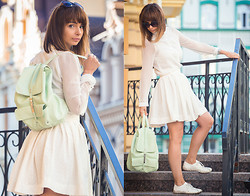 Nataly Bagart - Bagart Mint Backpack, Mango White Blouse, Handmade Skirt - White and young