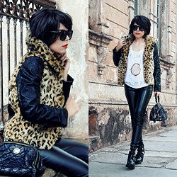 Priscila Diniz - Leopard Cool Coat, T Shirt, Leather Pants, Ankle Boots, Bag, Red Lipstick - Haters gonna hate, potatos gonna potate