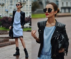 Tina Sizonova - Dress, H&M Cami Dress, Zerouv Eyerwear, Chic Wish Moto Jacket - Rainy day in Kiev city