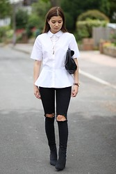 Eleftheria L - Nasty Gal Necklace, Asos Shirt, Topshop Jeans, Cheap Monday Boots, Michael Kors Watch - Werk