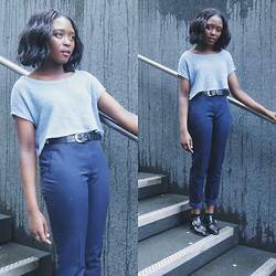 Nomsa Mangena - Diy Top, Dorothy Perkins Trousers - IM BLUE| www.fashion-habitue.blogspot.co.uk