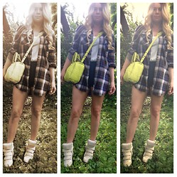 Kimmi Miao - Isabel Marant Sneaker Wedge, Alexander Wang Rocky Bag, H&M Flannel Dress, Paige Denim High Wasted Shorts - 3 shades of flannel