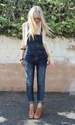 Katie Chambers - Urban Outfitters Top, Free People Overalls, Banana Republic Wedges - The Uniform