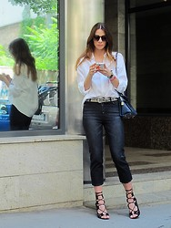 Jovana Radojicic - Ralph Lauren Shirt, Frontrowshop Jeans, Burberry Watch, H&M Belt - BLACK AND WHITE
