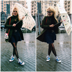 Five2ten.o'clock - Zara Skirt, Converse Sneakers, Zara Outerwear, Brichiallini Handbag, Moschino Umbrella - Rain in sity