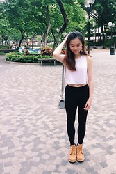 Veronica W. - Boohoo Crop Top, Forever 21 Earrings, Timberland Boots, Crossbody, H&M Black Leggings - Black and White.