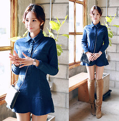 Chuu chaeeun - Chuu Dress - Denim dress