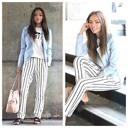 Vee Vee - Primark Pastel Faux Leather Biker Jacket, Zara Vertical Stripe Trousers, Topshop Poolsliders - City Stripes.