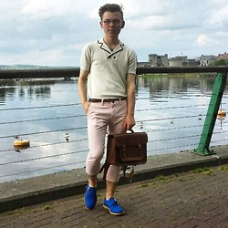 Paul O' Farrell - Zara Nautical Polo Shirt, Cambridge Satchel Co. Initialed, Zara Pastel Pink Trousers, Topman Monk Strapped Shoes - Smart Casual 01/07/14