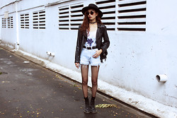 Vu Thien - Wizards Of The West Swimsuit, Levi's® Shorts, Dr. Martens Boots, Lovelywholesale Sunglasses, The Dead Bird Leather Choker - WAVES