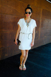 Christina C - Tristan Dress, Winners Sandals, Winners Necklace, Louis Vuitton Clutch, Ray Ban Sunglasses - Grecian