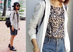 Rika J. - Mango Shirt, Vince Camuto Leopard Print Top, Ensoen Leather Backpack, Blue Way Denim Shorts, Lavieshu Shoes - Playful