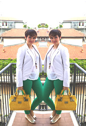 Gabriella Vavrova - River Island Yellow, Primark Green, Stradivarous White - Milan travel look