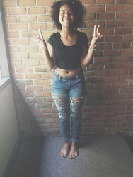 Jada Bennett - Forever 21 F21 Ripped Jeans, Forever 21 Black Crop Tee, Handmade Lazynatural Bracelets, Claire's Rose Flower Crown - Sunsunsully