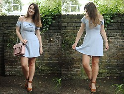 Daisy A - In Love With Fashion Powder Pastel Blue Off The Shoulder Dress, Olivia Burton Cream Hummingbird Watch, Zatchels Pastel Pink Leather Satchel, Office Tan Brown Espadrille Wedges - London heat.