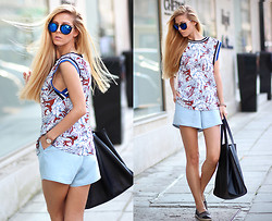 Sirma Markova - Choies Print Top, Sheinside Denim Shorts, Stradibarius Espadrilles, Parfois Watch: - Hello, July!