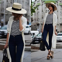 Tina Sizonova - Frontrowshop Duster Coat, Zara Flatforms, American Apparel Jeans, Zara Sailor, H&M Hat - Lviv i love you
