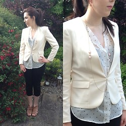 Hannah - H&M Cream Blazer, Willow&Clo Pink Opal Wrap Necklace, Zara Star Print Blouse, Dunnes Stores Black Capri Pants, Willow&Clo Pink Opal Drop Earrings, New Look Tan Wedges - Stars and Pearls