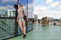 Coco Bebe - Mango Blouse, New Yorker Shorts, Promod Bag, Zara High Heels - Museum of Modern Art