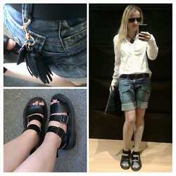Gabriella B - New Look White Cotton Shirt, H&M Black Embossed Tassel Clutch, Vintage Black Leather Double Pronged Belt, Dr. Martens Black Smooth Leather Gryphon Chunky Sandals, River Island Antique Look Iron Disc Necklace, I Am Tassel And Tag Bag Charm, Women'secret Denim Shorts - Don't tell the shorty