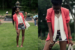 Stephanie Ukpere - Thrifted Blazer, New York & Company Shorts - Coral, Black & White
