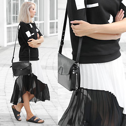 Joyce Croonen - Ann Sofie Back Top, Zara Skirt, Alexander Wang Bag, Birkenstock Sandals - Pleated skirt