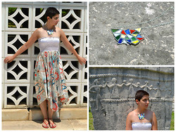 Miss Dee STyle - Tiffany & Co. Stained Glass Necklace, Kamena Duga, Croatia Silk Printed Summer Maxi Skirt - Heart of Glass