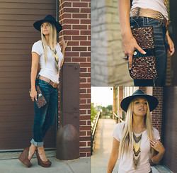 Briana Boyko - Bcbg Navy Hat, Splendid White Basic Tee, Linea Pelle Studded Rhinestone Belt, Fox Machina Skinny Jean, Forever 21 Brown Faux Leather Wedge, Betsey Johnson Large Cheetah Wallet Clutch, Body Central Bead Fringe Necklace - Seven | Six | Fourteen