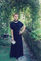 Lara Stregatta - Long Dress, Tahi Silver Jewelry, Sheinside Clutch Bag, Black Heels - Long dress
