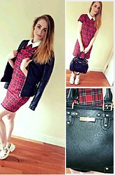 Sorcha W - Pull & Bear Leather Jacket, Cameo The Label Checkered Dress, New Look Flatforms, Dune Black Bag - So Clueless