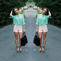 Aga - H&M Shirt, Zara Shorts, Pull & Bear High Heels, Dkny Watch - Pastels