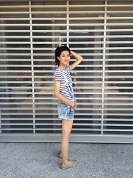Kristal Liu - Zara Overalls, Zara Blue Horizontal Stripe T Shirt - Blue not blues